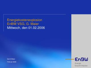 Energiekostenexplosion EnBW VSG, G. Maier Mittwoch, den 01.02.2006