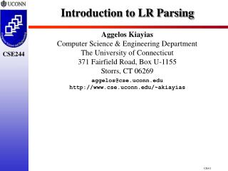 Introduction to LR Parsing