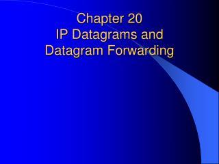 Chapter 20   IP Datagrams and  Datagram Forwarding