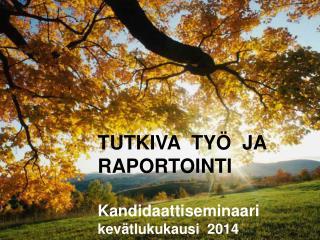 TUTKIVA  TYÖ  JA  RAPORTOINTI Kandidaattiseminaari  kevätlukukausi  2014