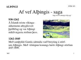 Af vef Alþingis - saga
