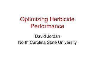 Optimizing Herbicide Performance
