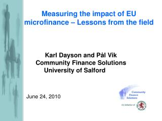 Measuring the impact of EU microfinance – Lessons from the field