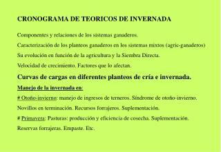 CRONOGRAMA DE TEORICOS DE INVERNADA