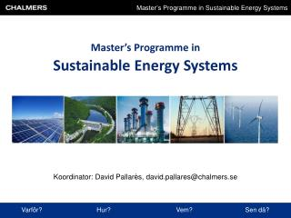 Master's Programme in Sustainable Energy Systems