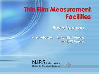 Thin Film Measurement Facilities