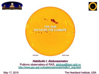 Habibullo I. Abdussamatov Pulkovo observatory of RAS ,  abduss@gao.spb.ru