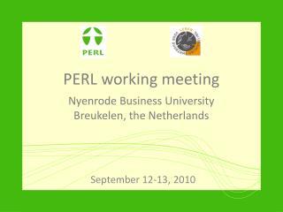 PERL working meeting Nyenrode Business University Breukelen , the Netherlands
