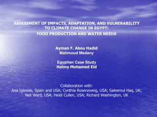 ASSESSMENT OF IMPACTS, ADAPTATION, AND VULNERABILITY TO CLIMATE CHANGE IN EGYPT: