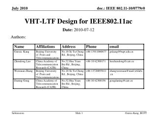 VHT-LTF Design  for  IEEE802.11ac