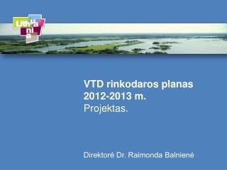 VTD rinkodaros planas 2012-2013 m. Projektas. Direktorė Dr. Raimonda  Balnienė