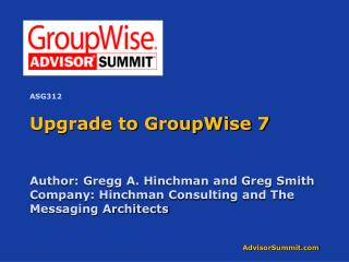 Upgrade to GroupWise 7