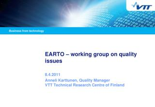 EARTO � working group on quality issues