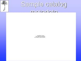 Sample catalog metadata