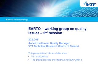 EARTO � working group on quality issues � 2 nd  session