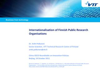 Internationalisation of Finnish Public Research   Organisations