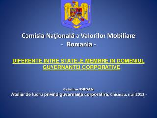 Comisia  Na ţională  a Valorilor Mobiliare Romania -