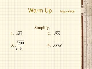 Warm Up      Friday 9/5/08