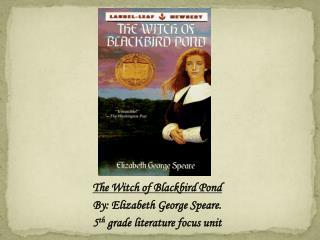 The Witch of Blackbird Pond By: Elizabeth George Speare. 5 th  grade literature focus unit