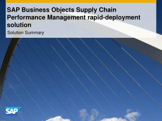 SAP Business Objects Supply Chain Performance Management rapid-deployment solution
