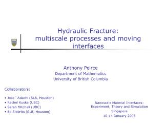 Hydraulic Fracture:  multiscale processes and moving interfaces