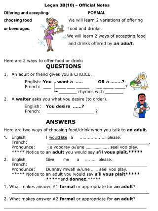 Leçon 3B(10) – Official Notes Offering and accepting/ FORMAL