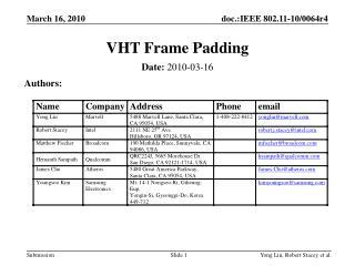 VHT Frame Padding