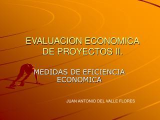 EVALUACION ECONOMICA DE PROYECTOS II.