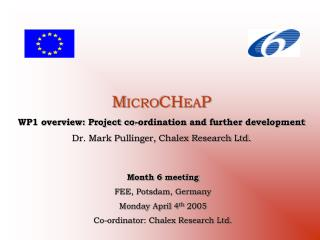 M ICRO CH EA P WP1 overview: Project co-ordination and further development