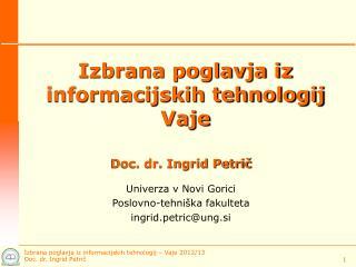 Izbrana poglavja iz informacijskih tehnologij Vaje