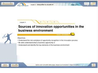 Sources of innovation opportunities in the business environment