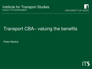 Transport CBA– valuing the benefits