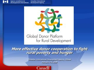 More effective donor cooperation to fight rural poverty and hunger