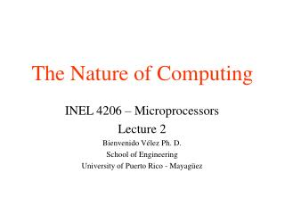 The Nature of Computing