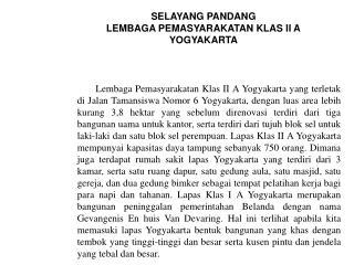 SELAYANG PANDANG LEMBAGA PEMASYARAKATAN KLAS II A YOGYAKARTA
