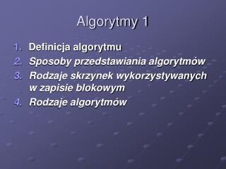 Algorytmy 1