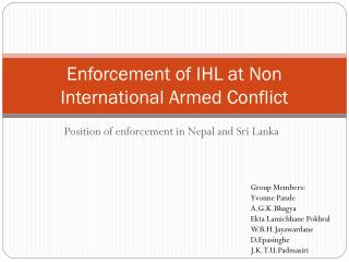 Enforcement of IHL at Non International Armed Conflict