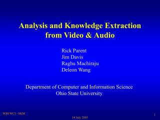 Analysis and Knowledge Extraction from Video & Audio