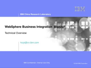WebSphere Business Integration  Monitor Technical Overview