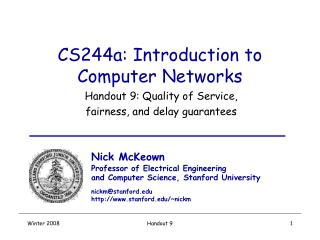 CS244a: Introduction to Computer Networks