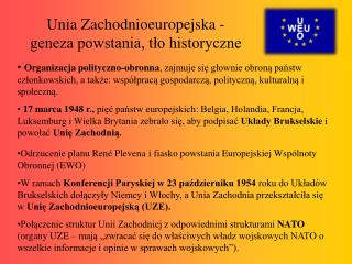 Unia Zachodnioeuropejska - geneza powstania, tło historyczne