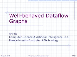 Well-behaved Dataflow Graphs Arvind Computer Science & Artificial Intelligence Lab