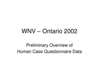WNV – Ontario 2002