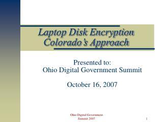 Laptop Disk Encryption Colorado's Approach
