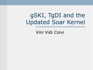 gSKI, TgDI and the Updated Soar Kernel