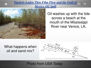 Particle-Laden Thin Film Flow and the Gulf of Mexico Oil Spill