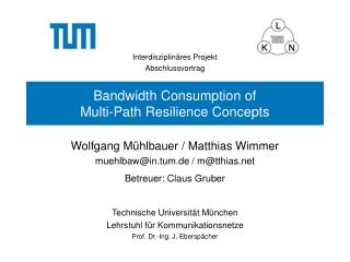 Bandwidth Consumption of Multi-Path Resilience Concepts