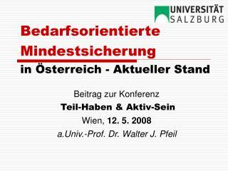 Bedarfsorientierte Mindestsicherung in Österreich - Aktueller Stand