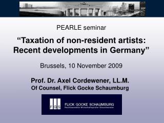 Prof. Dr. Axel Cordewener, LL.M. Of Counsel, Flick Gocke Schaumburg
