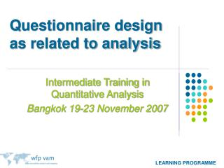 Questionnaire design as related to analysis